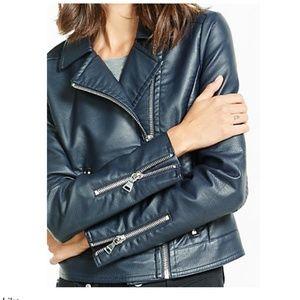 NWT- Express (Minus The) Leather Navy Moto Jacket